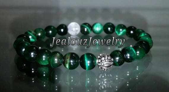 "Emerald Green Tiger Eye 8mm Gemstone 7"" Stretch Yoga Wealth Bracelet 925 Sterling Silver Lucky Pixiu Dragon Quartz Mens"