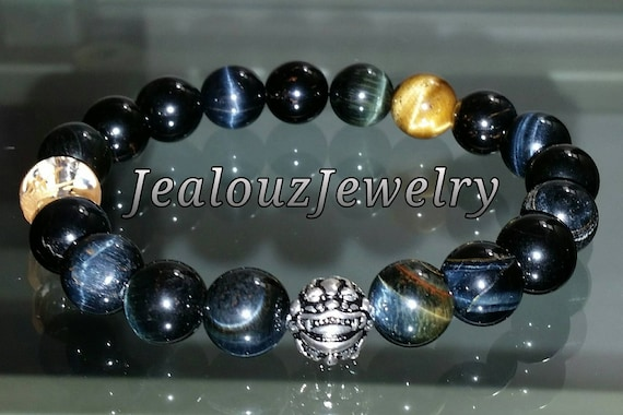 "Blue Tiger Eye Wisdom Power Strenght Gemstone 7"" Stretch Meditation Yoga Bracelet 925 Sterling Silver Lucky Dragon Mens"