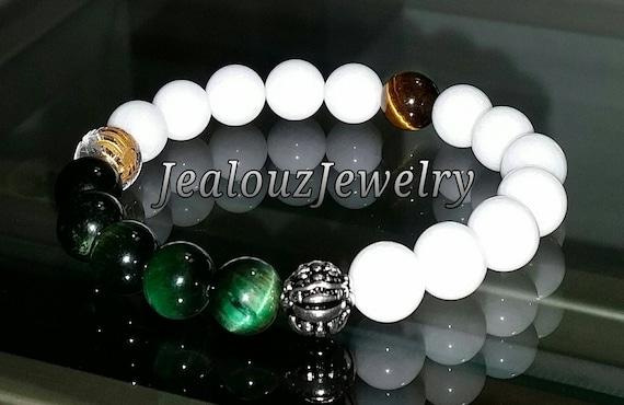 "White Emerald Green Tiger Eye Heart Chakra Gemstone 7"" Stretch Meditation Yoga Wealth Bracelet 925 Sterling Silver Lucky Dragon Mens"