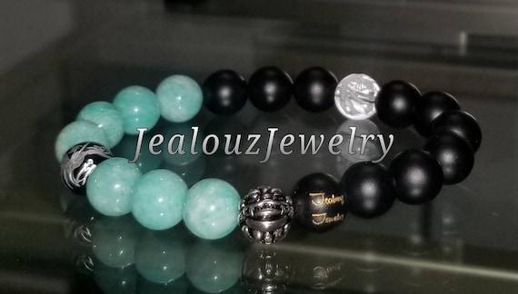 "Lt Turquiose Amazonite Black Lava Gemstone 7"" Stretch Essential Oils Yoga Bracelet 925 Sterling Silver Lucky Dragon Quartz Mens Mala"