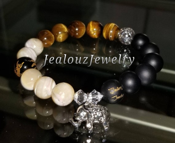 Healing Protection Against Negativity Energy Sterling Silver Elephant Matte Black Onyx Tiger Eye MOP Gemstone Charm Bracelet