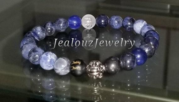 Protection Against Negative Energy Wealth Sterling Silver Lucky Dragon Matte Black Onyx Blue Sodalite 8mm Gemstone Stretch Yoga Bracelet