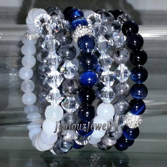 "6 Crystal White Agate Sapphire Blue Tiger Eye Gray Labradorite Gemstone 7"" Shamballa Rhinestone Stretch Bracelet Arm Candy Stack Set"