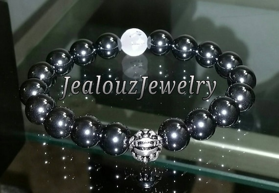 "Gray Hematite Energy Gemstone 7"" Stretch Yoga Bracelet 925 Sterling Silver Lucky Dragon Quartz"