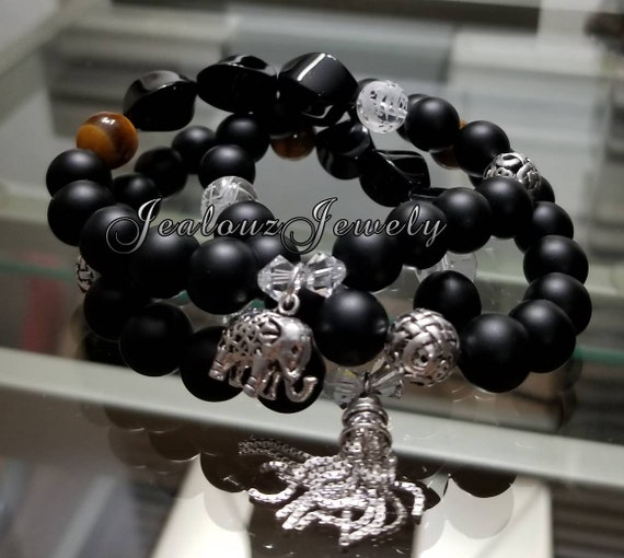Healing Protection Against Negativity Energy Infinity Sterling Silver Matte Black Onyx Tiger Eye Gemstone Charm Bracelet Set