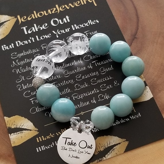 Chunky Natural 16mm Amazonite Carved Gemstone Bead Bracelet Silver Coin Take Out But Don't Lose Your Noodles