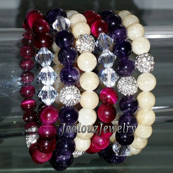 "Crystal Fuchsia Pink Tiger Eye Amethyst Light Yellow Jade Gemstone 7"" Shamballa Rhinestone Stretch Bracelet Arm Candy Stack Set"