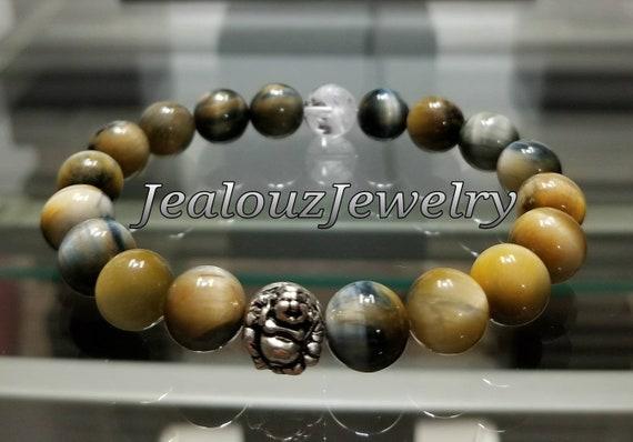 Sterling Silver Lucky Buddha Navy Blue Gold Tiger Eye Gemstone Healing Wisdom Wealth Yoga Meditation Stretch Men Bracelet