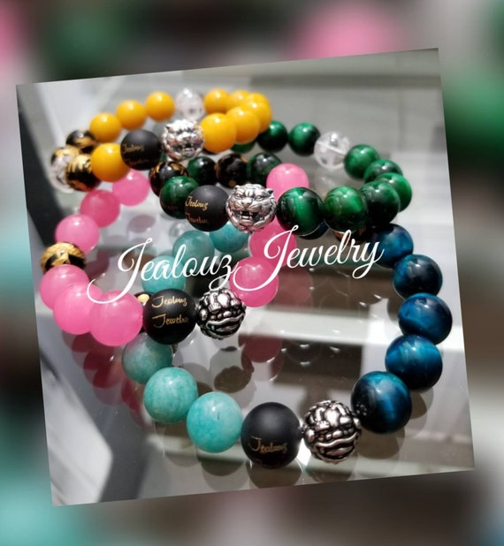 Healing Protection Against Negative Energy Wealth Love Relief Of Stress Sterling Silver Chunky 12mm Gemstone Stretch Bracelets