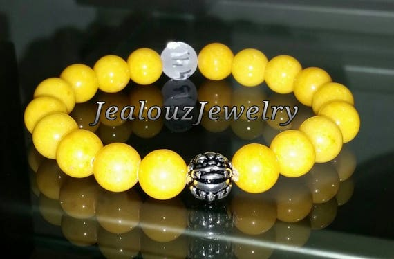 "Golden Yellow Jade Gemstone 7"" Stretch Yoga Wealth Protection Meditation Bracelet 925 Sterling Silver Lucky Dragon Hip Hop Men"