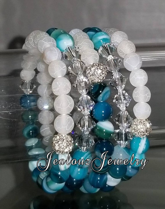 "5 Crystal  Frosted White Multicolor Blue Agate Gemstone 7"" Shamballa Rhinestone Stretch Bracelet Arm Candy Stack Set"