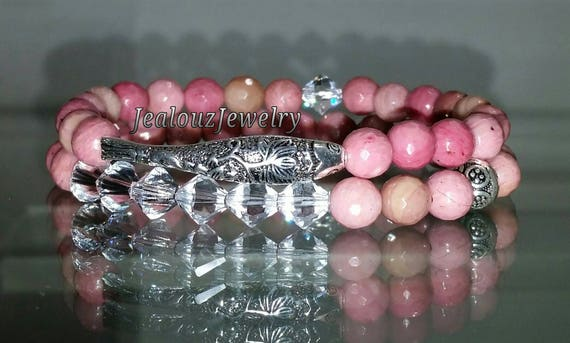 "925 Thai Sterling Silver Lucky Koi Fish 7"" Pink Rhodonite Gemstone Beaded Stretch Bracelet Set"