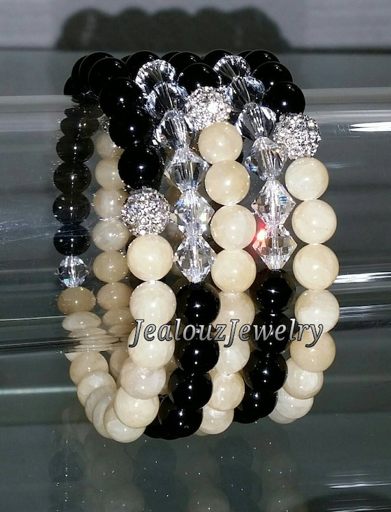 "5 Crystal Black Yellow Multicolor Crystal Jade Onyx Agate Gemstone 7"" Rhinestone Stretch Bracelet Arm Candy Stack Set"