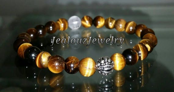 "Golden Brown Tiger Eye 8mm Gemstone 7"" Stretch Yoga Bracelet 925 Sterling Silver Lucky Dragon Quartz Mens"