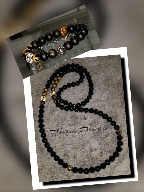Sterling Silver Lucky Dragon Matte Black 10mm Healing Gold Carved Gemstone Beaded Mens Yoga Necklace Bracelet Set
