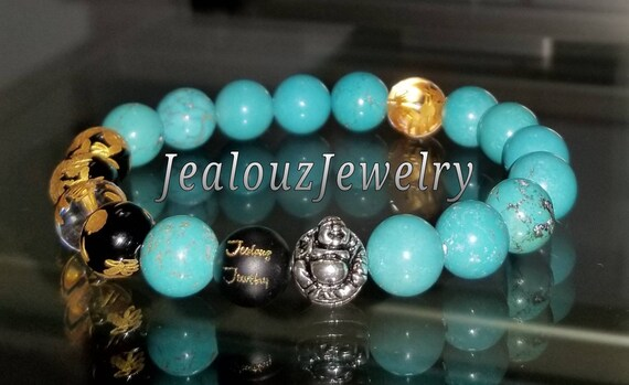 "Turquoise Gemstone 7"" Stretch Yoga Bracelet 925 Sterling Silver Lucky Laughing Buddha Quartz Mens Mala"