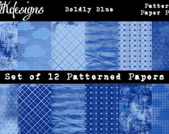 Boldly Blue Digital Paper Pack