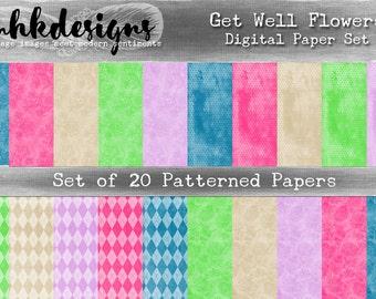 Get Well Flowers Digital Paper Pack