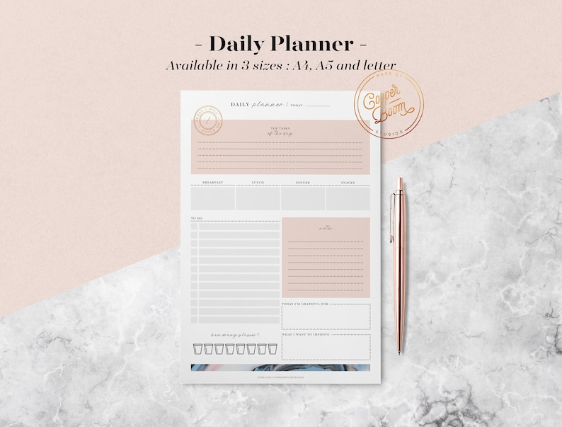 Marble Daily Planner Printable w/ Meal Planner To Do List image 0