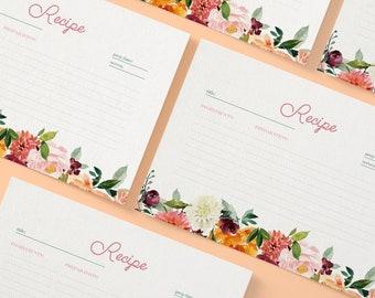 Printable Recipe Card Template, DIY Bridal Shower Recipe Insert, Recipe Card Printable, Bridal Shower Recipe Cards, 4x6 Recipe Card, Pastel
