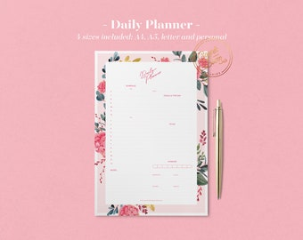 Botanical Daily Planner Printable, Meal Planner, ToDo List, Printable Planner Pages, Flower Planner Inserts, Undated Planner, Bullet Journal