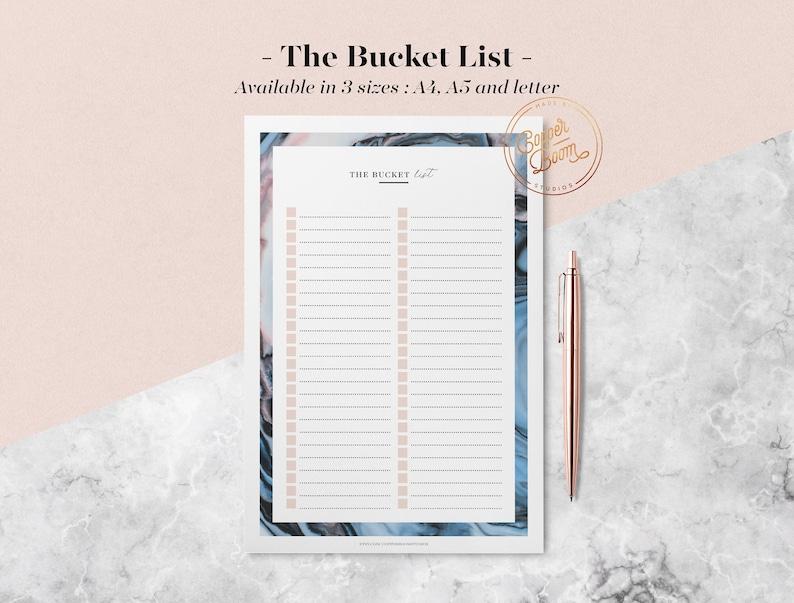 Marble Bucket List Printable Bucket List Wall Planner image 0
