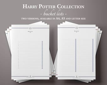The Harry Potter Bucket List, Printable Bucket List, Printable Bucket List, Planner Insert, Bullet Journal