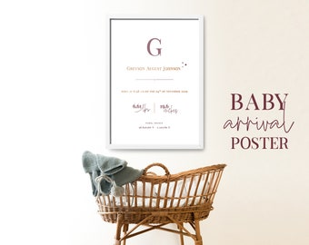 Baby arrival poster instant download, printable baby poster for the nursery, baby boy and baby girl personalized birth poster, nursery decor
