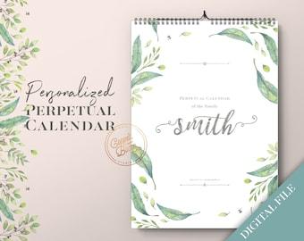 Custom Perpetual Calendar, Custom Birthday Calendar, Personalized Calendar, Personalized Birthday Calendar, Wedding Gift, Digital Download