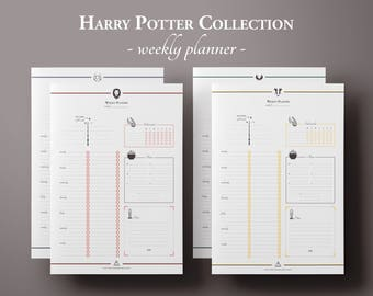 Harry Potter Weekly Planner Printable w/ Mood & Habit Tracker, Weekly Schedule, Planner Pages, Planner Inserts, Undated Planner, BuJo