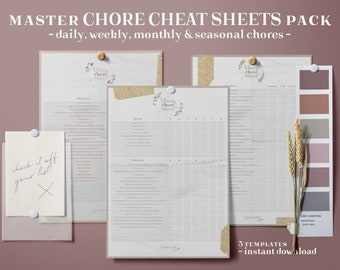 Master Chore Cheat Sheet Kit, Chores Log, Printable House Chores Log, To Do Log, House Chores Tracker, Chore Tracker, House Chores Checklist