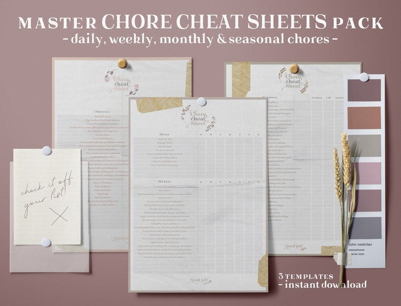 Master Chore Cheat Sheet Kit Chores Log Printable House image 0
