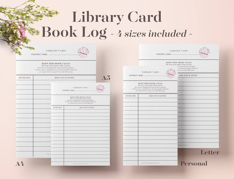 image relating to Book Log Printable titled Library Card E book Log, Printable Ebook Log, Looking through Log, Studying Tracker, Ebook Tracker, Reading through Listing, Bullet Magazine, Bujo