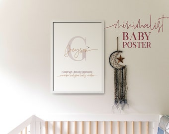 Minimalist baby arrival poster instant download, printable baby poster for the nursery, baby boy and baby girl personalized birth poster