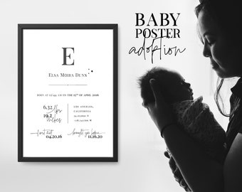 Baby adoption poster instant download, printable baby poster for the nursery, adopted baby boy and baby girl personalized birth poster