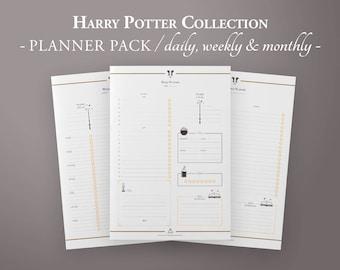 Wizard Planner Pack, Printable Planner Kit, Daily Planner, Weekly Planner, Monthly Planner w/ monthly meal planner, Planner Inserts