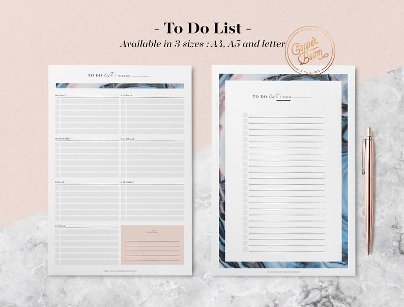Marble To-Do Lists Daily To do List Monthly To do List image 0