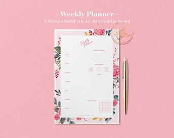 Botanical Weekly Planner Printable, Mood & Habit Tracker, Weekly Schedule, Printable Planner Pages, Planner Inserts, Undated Planner, BuJo