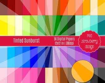a01830b777c7 75% OFF Sale - 56 Digital Papers - Tinted Sunburst - Instant Download - JPG  12x12 (DP212)
