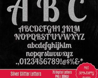 75% OFF Sale - Silver Glitter Alphabet - 70 Digital Clip Art - Instant Download - PNG (CA153)