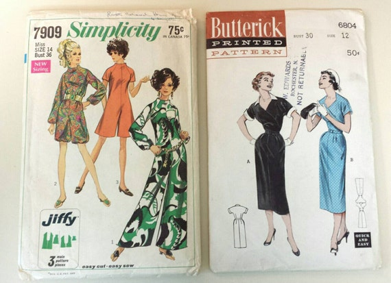 Vintage Set Of Patterns Butterick And Simplicity 60's Etsy Classy 1950s Patterns
