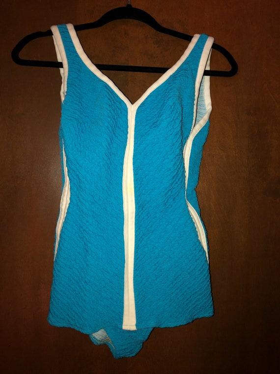 Vintage 1960's Bright Blue Swimsuit Robby Len 13/1