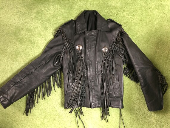 Awesome 80's Black Leather Biker Jacket with Fring