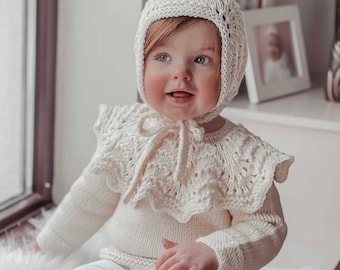 Custom order for Sara ( cream sweater with ruffle neck, bonnet and pants)