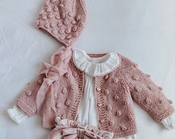Popcorn cardigan - Popcorn bonnet - Sitter - Popcorn cardigan - Baby - Photography props - Dusty pink cardigan - Baby cardigan - Baby girl