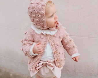Popcorn cardigan - Sitter baby - Sitter - Popcorn cardigan - Baby - Photography props - Dusty pink cardigan - Baby cardigan - Baby girl
