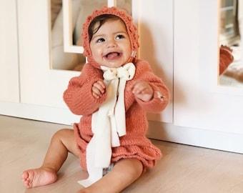 Sitter romper - Long sleeve romper - Baby girl props - Photo props - Sitter girl - Baby photo prop - Sitter baby photo - Old rose -Baby girl