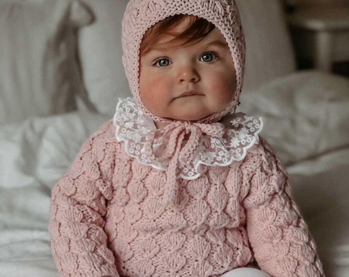 Featured listing image: Set of 2 - Baby girl - Toddler girl - Toddler bonnet - Sitter romper - Baby girl set - Romper and bonnet - Pale pink - Romper set
