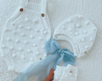 Set of 3 - Cotton set - Baby girl set - Baby boy set - Popcorn set - white cotton - summer outfit - cotton