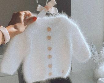 Baby girl cardigan - Baby girl - Angora cardigan - White cardigan - Baby girl outfit - Baby girl - White - Angora - Cardigan - Toddler